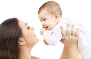 2459256 - picture of happy mother with baby over white