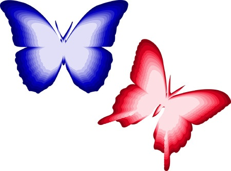 8293023 - illustration of red and blue butterfly