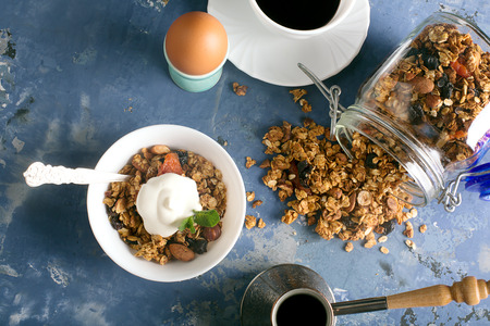 52138966 - granola with apple, oatmeal and dried fruits